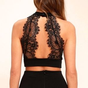 LuLu's Black Lace Open Back Crop Top
